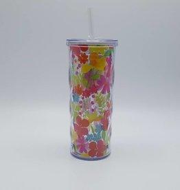 verre à paille avec fleurs des champs