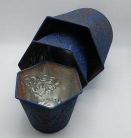 Trio de pots à fleurs en métal bleu