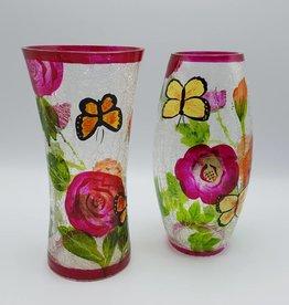Vase à fleurs en verre transparent