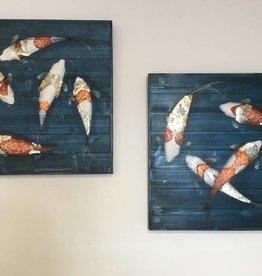 cadre poissons sur bois 30x30