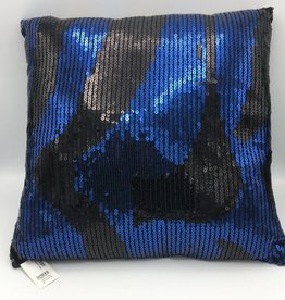 Coussin brodé de paillettes bleues et noires
