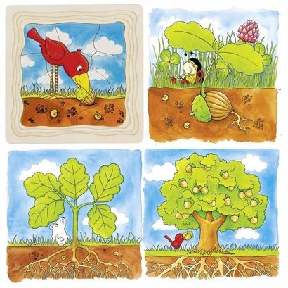 Goki Puzzle Arbres (4 scènes) en bois
