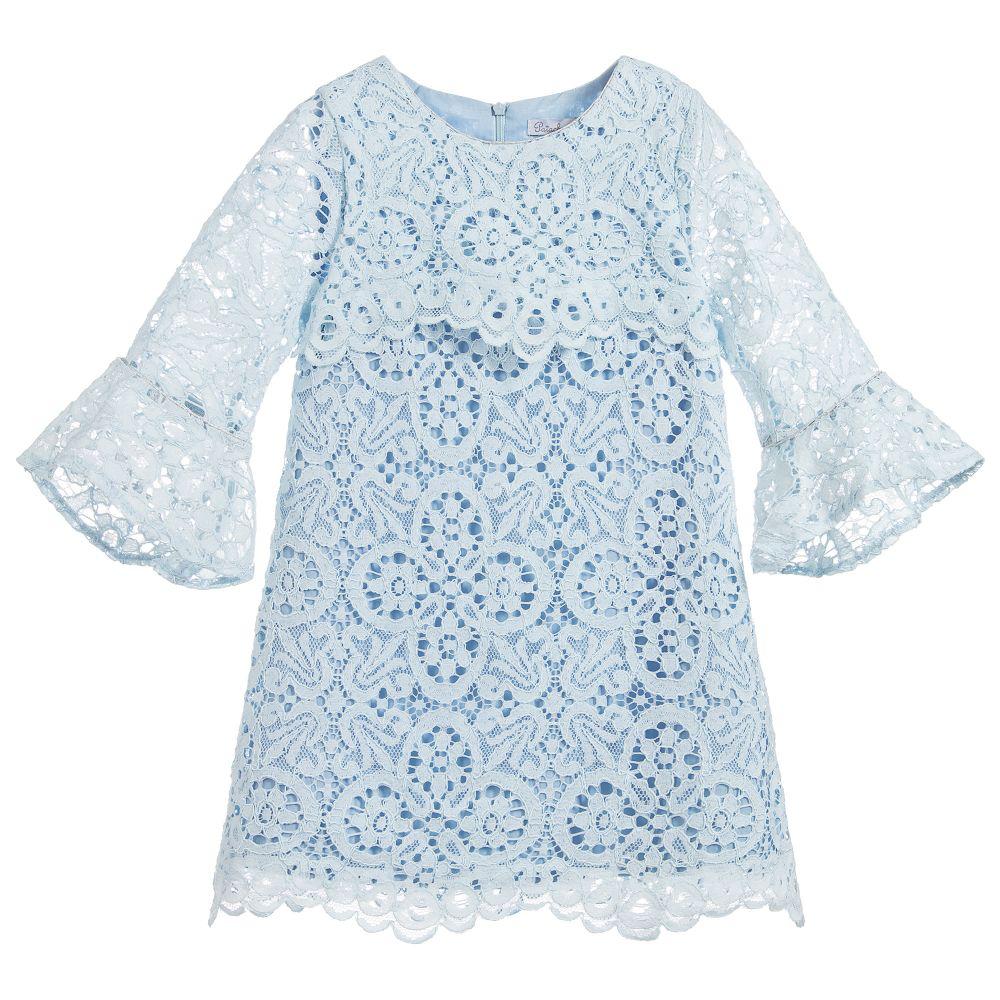Patachou Robe de dentelle bleue- taille 2 ans