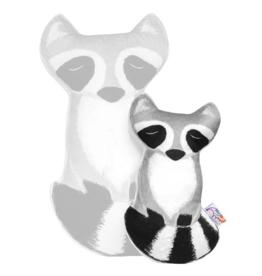 Petit Loulou Petit raton laveur gris oreiller «Amis de la forêt» Petit Loulou