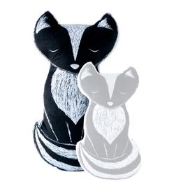 Petit Loulou Small black fox pillow «Amis de la forêt» Petit Loulou