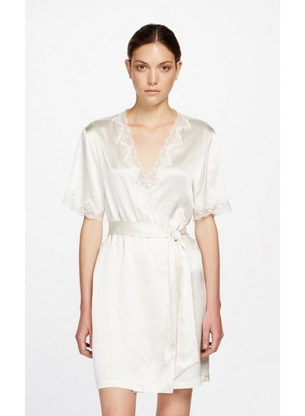 Ginia (SF) Silk Wrap Gown wtih Lace
