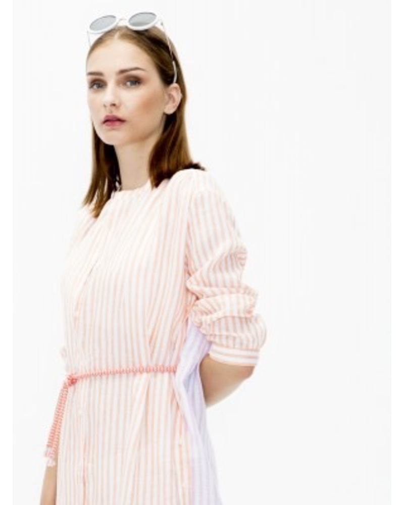 VILAGALLO VILAGALLO STRIPED LONG SLEEVE DRESS