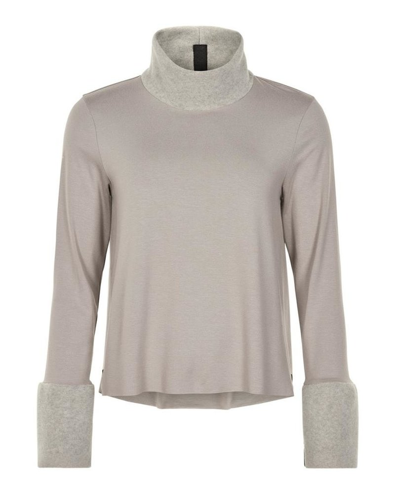 HENRIETTE STEFFENSEN TURTLENECK MIXED FABRIC BLOUSE