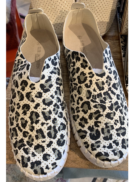 ILSE JACOBSEN ILSE JACOBSEN SLIP ON WITH WHITE SOLE LEOPARD PRINT