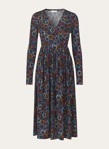 STINE GOYA STINE GOYA ALINA 771 RAYON JERSEY DRESS 1951 HEARTS BLACK