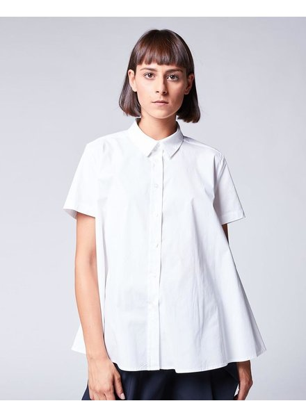 BACI BACI HIGH RUFFLE BACK BUTTON-UP TOP