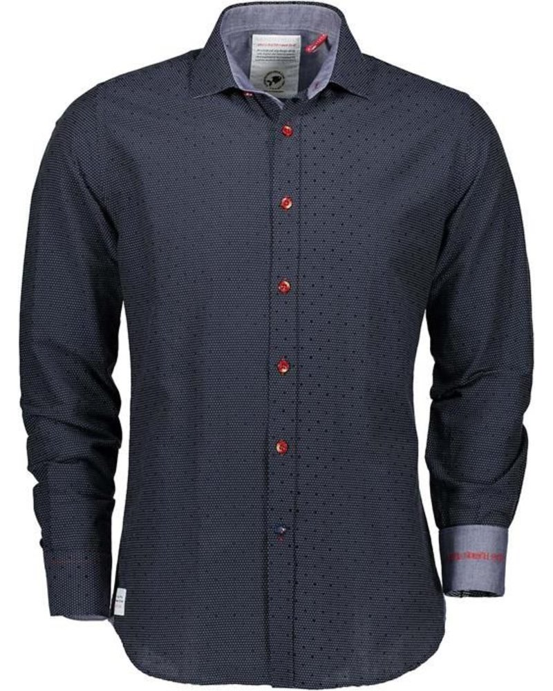 A FISH NAMED FRED A FISH NAMED FRED VELVET SHIRT, NAVY BLUE