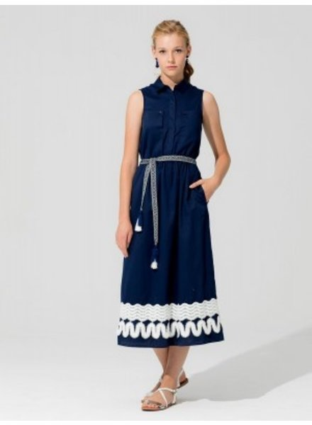 VILAGALLO VILAGALLO DRESS, NAVY RIVA