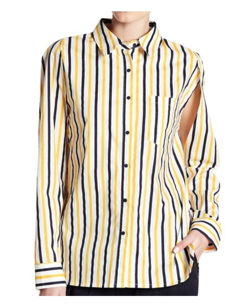 GREY LAB GREY LAB STRIPED OPEN SLEEVE SHIRT