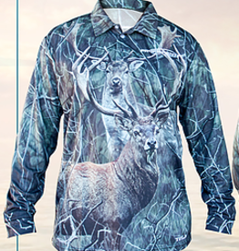 ProFishent Sublimated Shirt - Red Stag - Fallow Buck - Camo Background Small