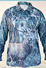 ProFishent Sublimated Shirt - Red Stag - Fallow Buck - Camo Background Large