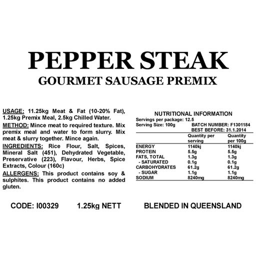 Butcher at Home Gourmet Sausage Meal Pepper Steak GSM 1.25kg
