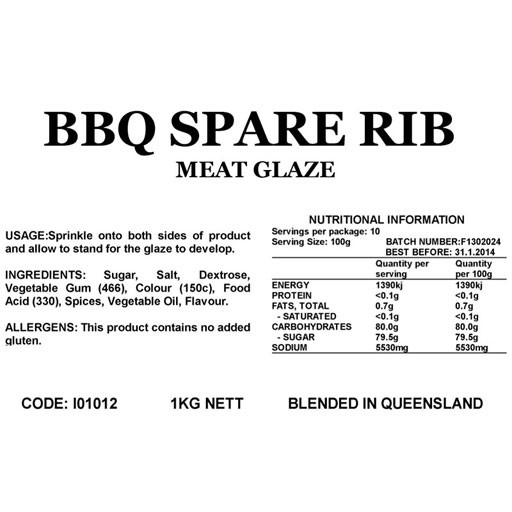 Butcher at Home BBQ Spare Rib Glaze 2kg
