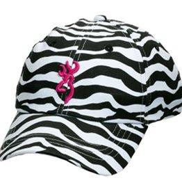 Browning Zebra Print Hat w/Pink Buckmark