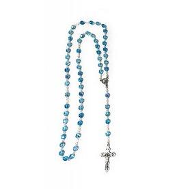 Moshy Brothers, Inc 7mm Glass Aqua Bead Rosary