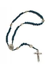 McVan Blue Wood Cord St. Michael Rosary