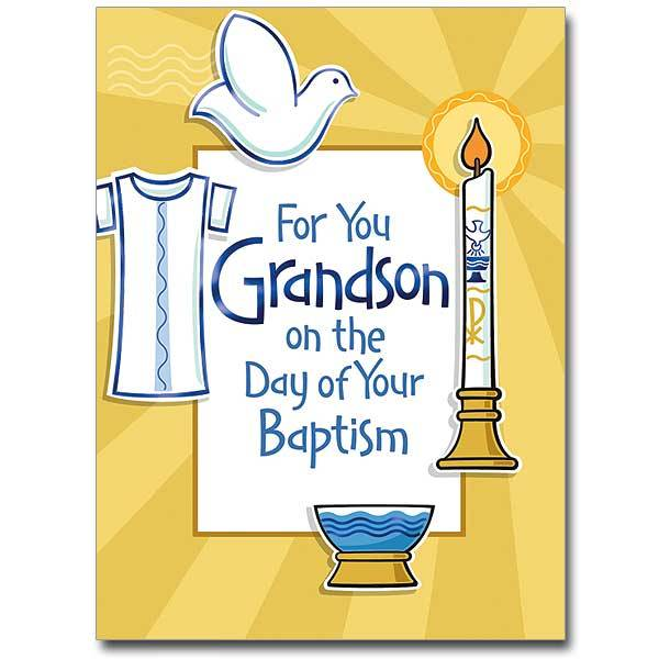 The Printery House For You Grandson On The Day of Your Baptism Greeting Card