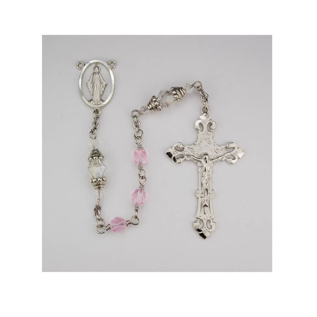 McVan 6mm Capped Crystal Rosary with Deluxe Crucifix and Center