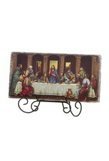"""Sacred Traditions 10.5"""" Wide Adams Last Supper Tile Plaque with Stand"""
