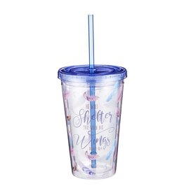 Christian Art and Gifts Plastic Tumbler: He Will Shelter You - Psalm 91:4