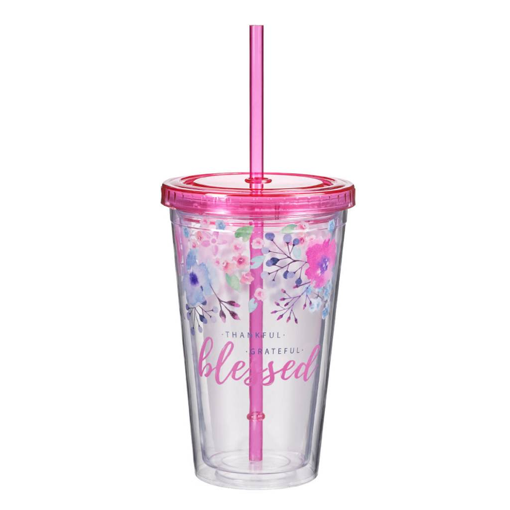 Christian Art and Gifts Plastic Tumbler: Thankful, Grateful, Blessed