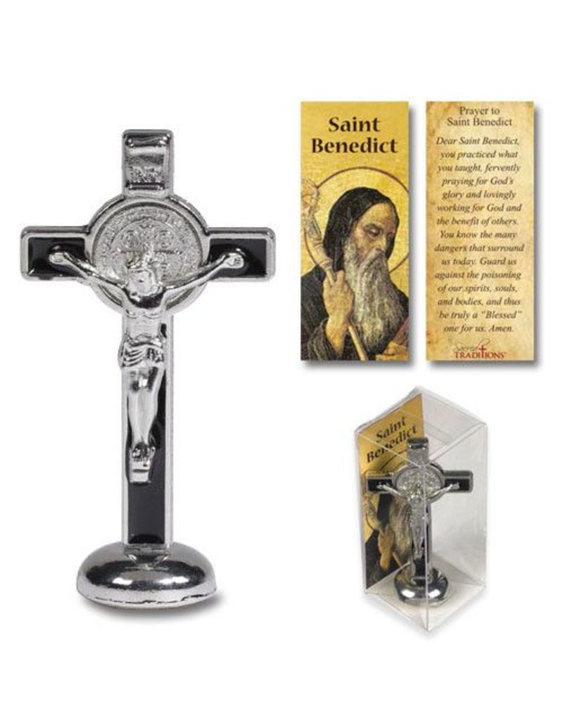 """Sacred Traditions 3"""" St. Benedict Enameled Standing Crucifix"""