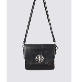 Victoria Leland Designs Black Crossbody Bag with Metal Cross Accent