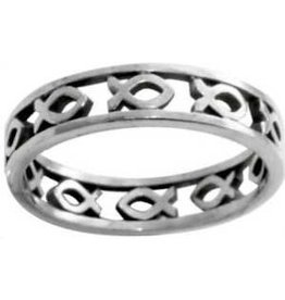 Solid Rock Jewelry Sterling Silver Cutout Ichthus Ring - Size  5