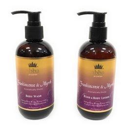 Abba Set of 8oz Frankincense & Myrrh Body Wash and Hand & Body Lotion