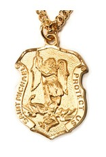 """HMH Religious 16k Gold Over Sterling Silver St. Michael Shield With 24"""" Chain Necklace"""