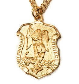 "HMH Religious 16k Gold Over Sterling Silver St. Michael Shield With 24"" Chain Necklace"