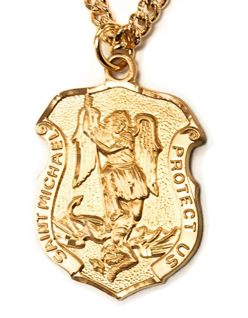 """HMH Religious St. Michael in Shield Gold Over Sterling Silver 16kt 20"""" Chain"""