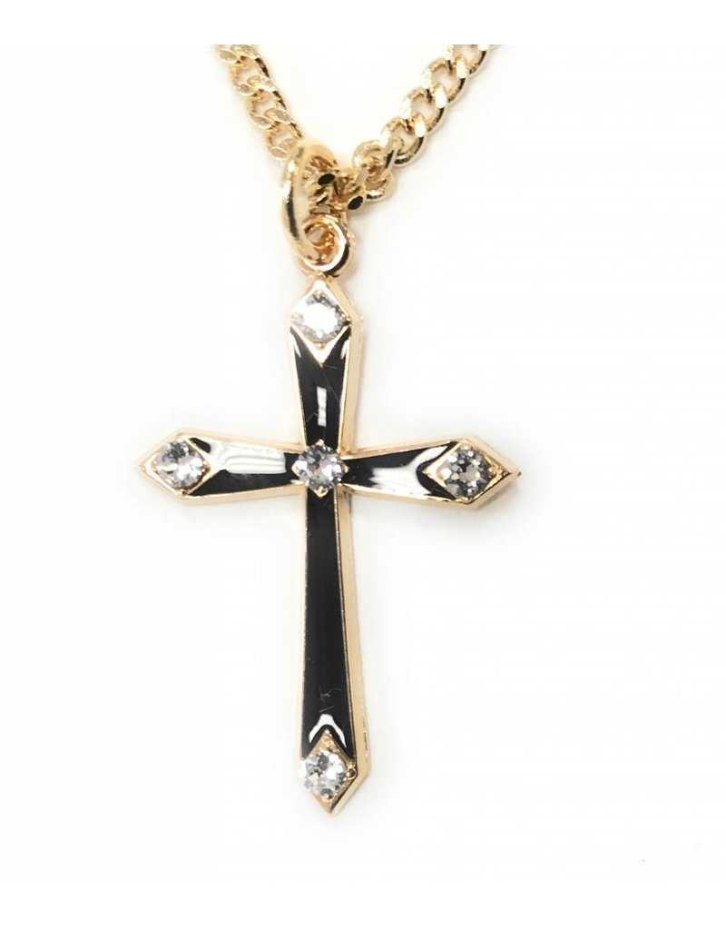 """HMH Religious 16kt Gold Over Sterling Silver Black Enamel Cross with Stones 18"""" Chain"""
