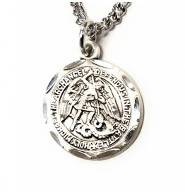 """HMH Religious Sterling Silver 0.8"""" St. Michael Medal-Pendant 18"""" Chain Necklace"""