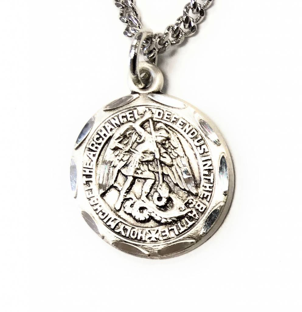 "HMH Religious Sterling Silver 0.8"" St. Michael Medal-Pendant 18"" Chain Necklace"