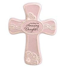 """Abbey Gift Abbey Gift Amazing Daughter Pottery Wall Cross, Measures 6""""x8"""""""
