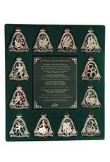 """Cathedral Art 12 Days of Christmas Ornament Set - Silver Elaborate Ornaments 3"""" Tall"""