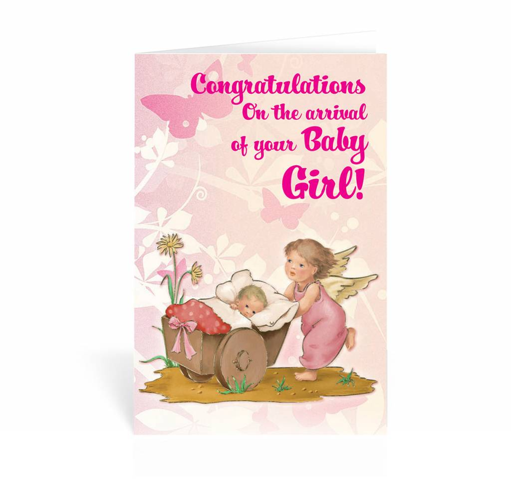 congratulations on the arrival of your baby girl  greeting