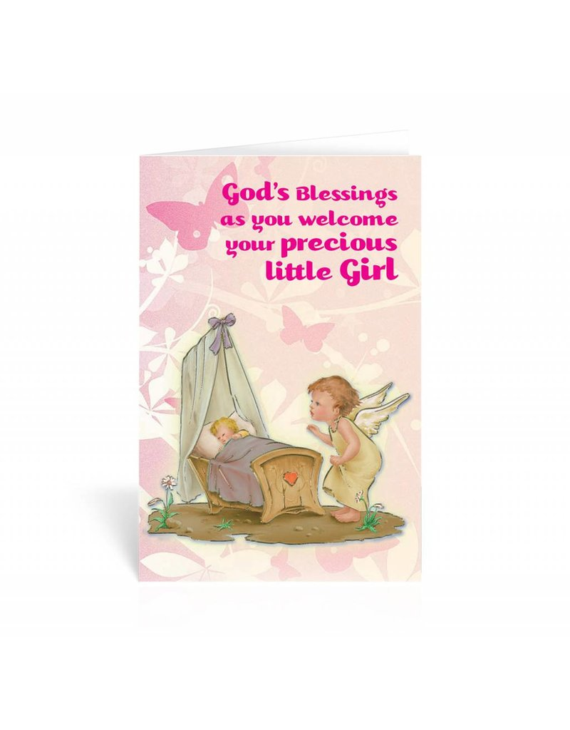 WJ Hirten God's Blessings As You Welcome You Precious Baby Girl Greeting Card