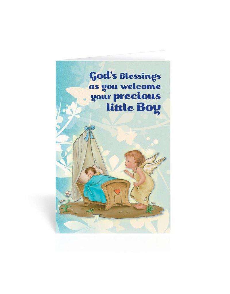 WJ Hirten God's Blessings As You Welcome Your Precious Little Boy Greeting Card