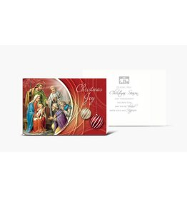 "WJ Hirten Box of 10 ""Christmas Joy"" Holy Family With Shepherds Christmas Cards"