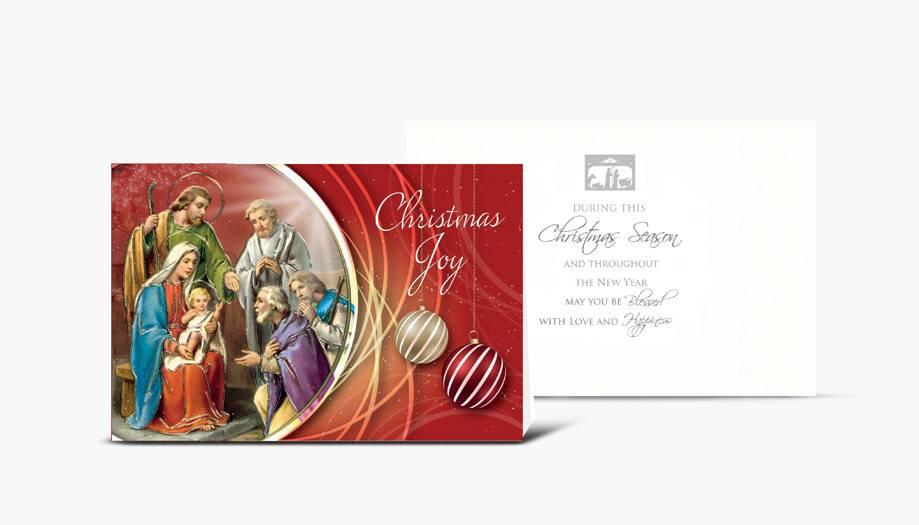 "WJ Hirten Box of 10 ""Christmas Joy"" Holy Family With Shepherds Christmas Cards"