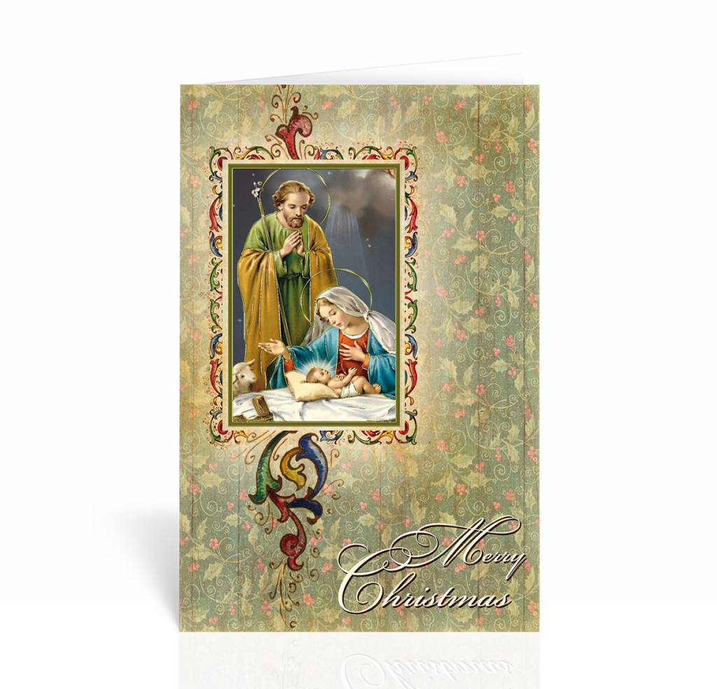"WJ Hirten Box of 10 ""Merry Christmas"" Nativity Christmas Cards"