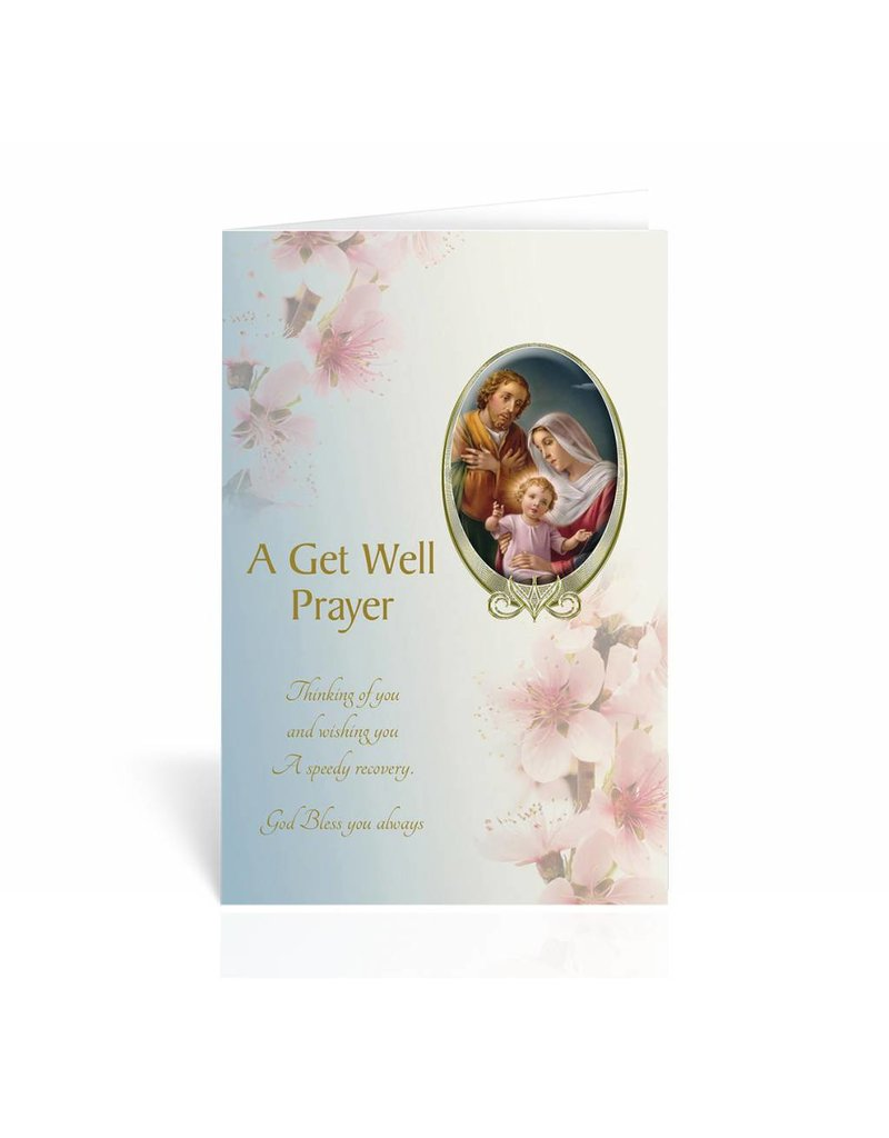 """WJ Hirten """"Thinking Of You And Wishing You A Speedy Recovery"""" Holy Family Get Well Soon Card"""