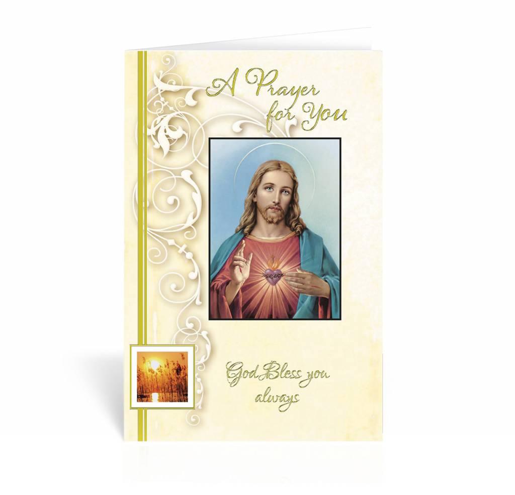 "WJ Hirten ""A Prayer For You, God Bless You Always"" Saced Heart Get Well Soon Card"